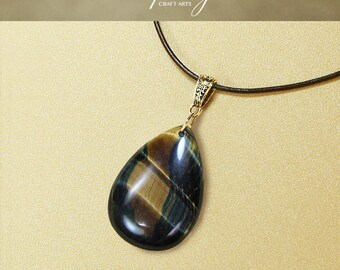 Gemstone Yellow Blue Tiger Eye pendant necklace, Drop pendant necklace, Blue Tigers Eye pendant, Genuine Leather necklace, InfinityCraftArts