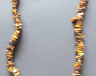 Vintage Handcrafted Necklace Brown Tiger Eye Costume Jewelry