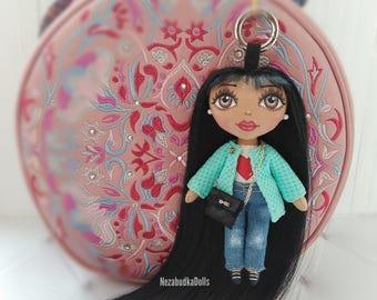Gifts for daughter Ragdolls Handbag Cloth dolls Chanel Dolls Bag charms Accessory Keychains Keyrings Birthday Gifts for girls Fabric dolls