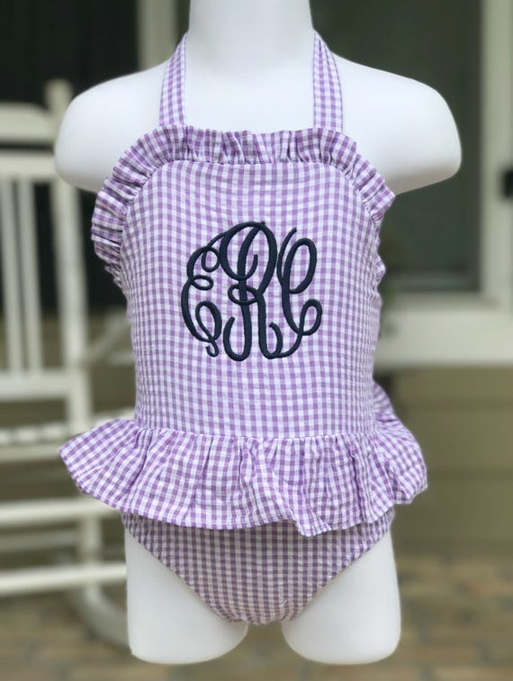 Girls Purple Gingham Monogrammed Swimsuit