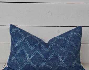 Indigo mud cloth style pillow cover. available in 16x16, 18x18, 20x20, 16x24 and 16x26.