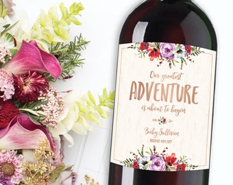Our Greatest Adventure Begins Baby Announcement, Pregnancy Announcement, Best Parents Promoted to Grandparents Label, Baby Reveal Wine Label