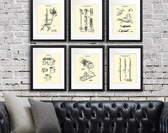 Ski Decor Wall Art set of 6 unframed Ski Patent Art Prints - Ski Home decor - Ski Gifts