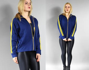Track Jacket, Zip Up Sweatshirt, 80s Yellow Striped Deep Blue Retro Jacket, 1980s Vintage Old School Tracksuit, Hip Hop Blazer, Size M /L