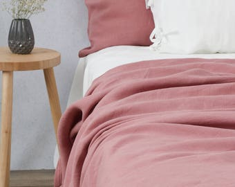 durable linen blanket queen size king size stonewashed dusty pink bed throw - King Size Blanket