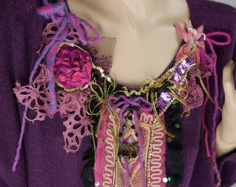 """Tunic wool mixed mohair """"Colchic in meadows bloom"""" small wool purple"""