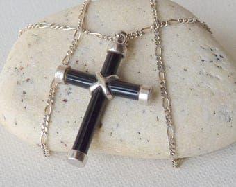 Sterling Silver Black Onyx Cross Pendant Figaro Chain Necklace Retro Jesus Cross, Onyx Christian Jewelry  Simple 925 Catholic Modern Cross
