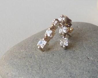 Vintage Sterling Silver Cubic Zirconia Stud Earrings, Small Cubic Zircon Stud Earrings 925, edding Sterling CZ Jewelry, Cz Pierced Earrings