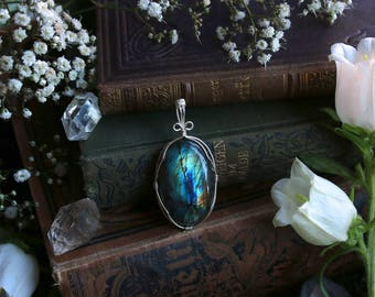 Blue Green Orange Wire Wrapped Oval Labradorite Pendant