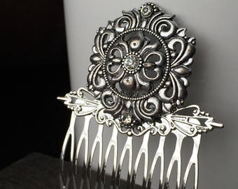 Gift-For-Her Silver Bridal Hair Comb - Wedding Hair Combs for Weddings - Silver Hair Accessories - Wedding Hair Accessory Hair Comb Wedding