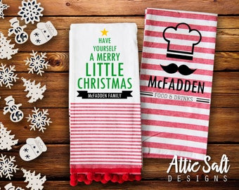 Christmas Kitchen Towel, Personalized, Have Yourself a Merry Little Christmas, Family Name