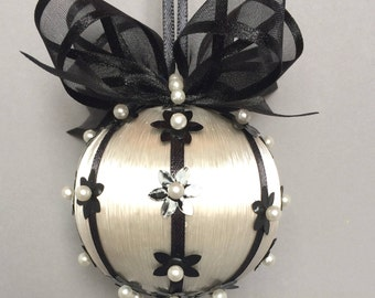 Black & White Collection/White With Black Sequin Accents Christmas Ornament/Handmade