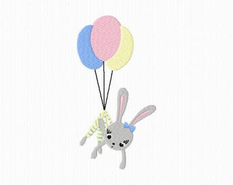 Embroidery of a rabbit suspended from balloons for machine embroidery format 5 x 7