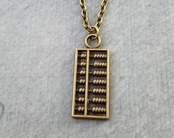 Abacus Necklace SMALL Abacus Charm Necklace Bronze Abacus Pendant Necklace Math Jewelry Math Student Math Teacher Math Major Accountant Gift