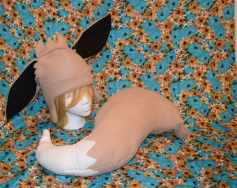 Eevee Fleece Tail and Hat costume/cosplay accessories- Great Geeky Christmas gift