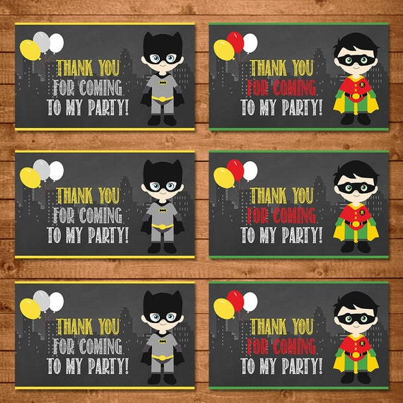 Batman & Robin Superhero Party Tags Chalkboard -- Superheroes Batman Favor Tags -- Superheroes Party Favors -- Superheroes Printables