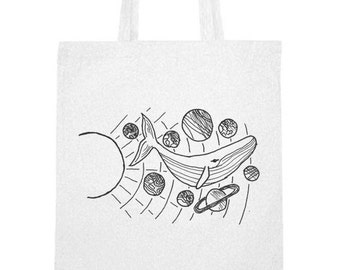 Hand printed cotton bag / jute bag with Whale and Planets print Black / White / 38 x 42 cm