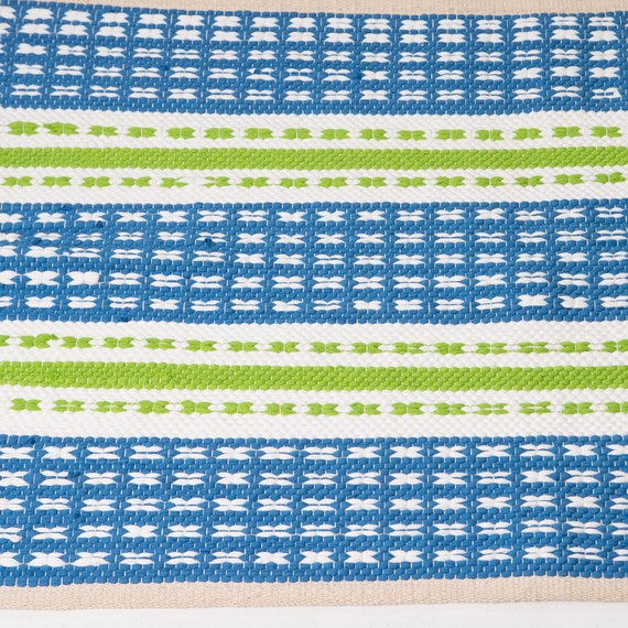 Blue And White Scandinavian Rug: Blue And Lime White Rug Nursery Rug Cotton Rug Baby And