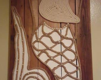 Mermaid, Pallet Art, Rope Art, Mermaid Decor, Handmade, Coastal Art, Beach Beauty