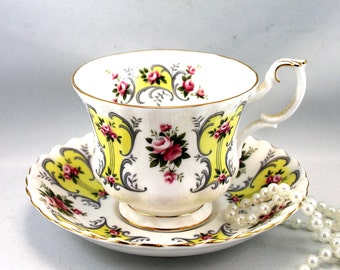 Royal Albert Teacup & Saucer, Love Story Series, Suzanne Pattern, Montrose Shape, Gold Rims, Bone English China made in 1960s.