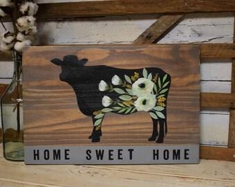 Floral Cow | Home Sweet Home|  Rustic Farmhouse Decor | Cottage Farmhouse Decor | Hand Painted