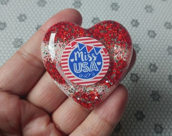 Clearance***Glitter Resin Heart Brooch 4th of July Miss U.S.A