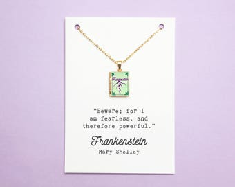 Frankenstein Book Quote and Locket Charm. Mary Shelley I Am Fearless Quote Card. Book Locket Jewellery. Halloween Necklace. Literary Gift.