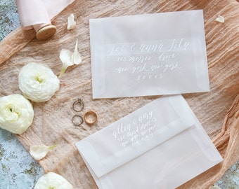 Guest Addressed Envelope in White Calligraphy | Weddings & Special Events