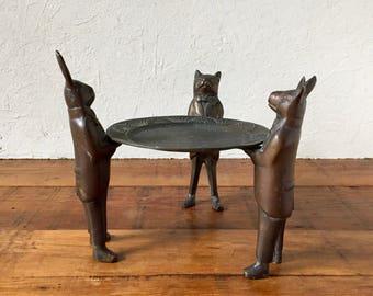 Vintage Bronze Candle Holder, Bronze Animals, Column Candle Holder