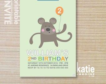 kids invitation  - printable invitation - monkey invitation - monkey party - boys invite - blue - green - white