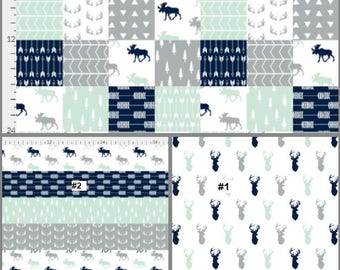 Buck baby blanket / Moose Baby Blanket / Minky Blanket / Designer / Patchwork Baby Blanket / Crib Quilt / Crib Blanket / Baby Shower Gift