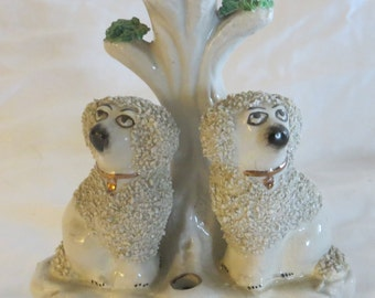 19th C English Staffordshire Dogs Spill Vase