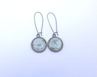 EARRINGS bronzes long sleepers birds great chic - wife jewelry - gift idea