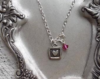Sterling Silver Heart Pendant with Pink Crystal Charm Necklace