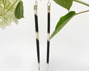 African Crested Porcupine Quill and Sterling Silver Earrings