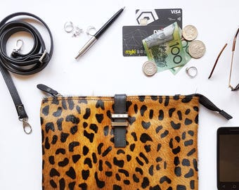 Maxi Pouch - Cowhide - Leopard Tan