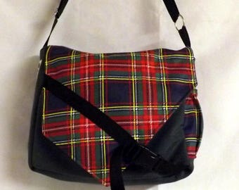 """Bobag"" Plaid and grey Messenger bag"