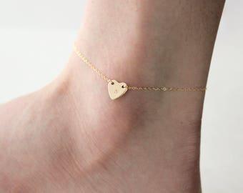 Monogram Heart Anklet // Personalized Anklet in Sterling Silver or 14k Gold Filled