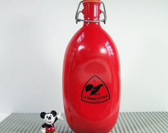 Red water bottle Le Grand Tétras Aluminum swing-top bottle vintage 1 liter Made in  France