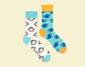 Alboa Penguin Socks, Marine Socks, Whale mens socks, Women's Socks.
