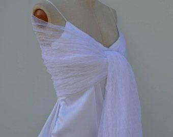 Bridal shawl embossed tulle white wedding, white tulle scarf shawl soft, warmer white shoulder bride, woman shawl white wedding