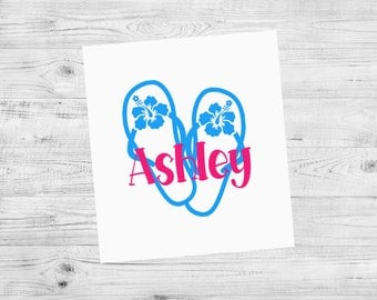 Flip Flop Decal, Flip Flop Monogram, Car Decal, Personalized Decal, Custom Decal, Cup Decal, Tumbler Decal, Laptop Decal, Phone Decal