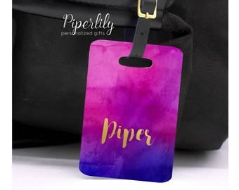 Custom Luggage Tags Personalized Luggage Tag Magenta Watercolor Gold Foil Bridesmaids Gift Idea Destination Wedding Feminine bag tags custom