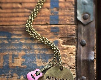 Nashville Necklace | Hand-stamped Brass Disc Pendant Country Music Pink Guitar Concert Jewelry Singer gift