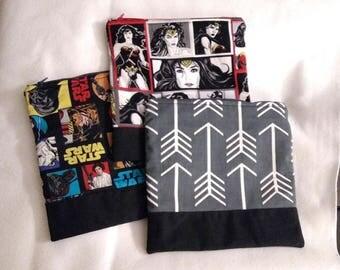 "10"" Large Zipper Bag Sleeve Handmade"