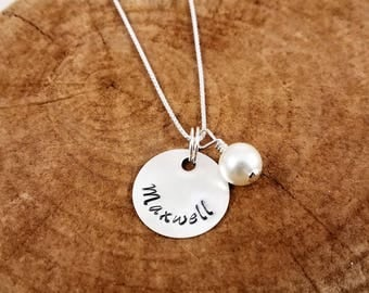 Personalized Round Disc Necklace w/Bead; Sterling Silver; Custom; Hand-Stamped