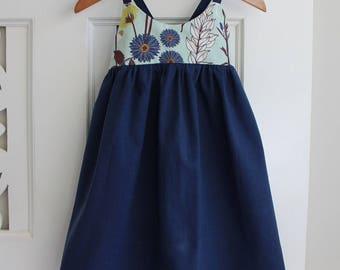 Toddler Girls Dress Size 2 Hummingbird Dress / Retro Floral Dress / babies clothing / Summer Dress Baby Dress /  Navy Dress