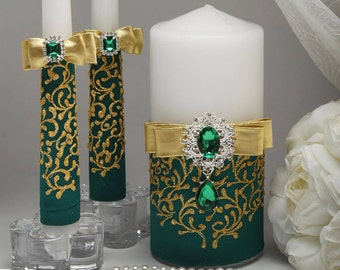 Unity candle sets Green wedding Wedding unity candles Green and gold wedding Personalized unity candles Green wedding colors