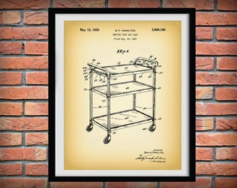 1959 Cosco Tray Cart Patent Print - Retro Kitchen Decor - Poster - Household Decor - Cosco Stylaire Cart - Coffee Cart - Tea Cart