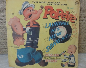 Vintage Popeye record, 78 rpm, Popeye Launches his new song hit, Peter Pan Records, 1958